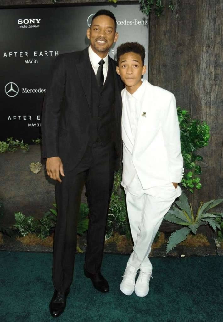 Will Smith, Black Suit, with son