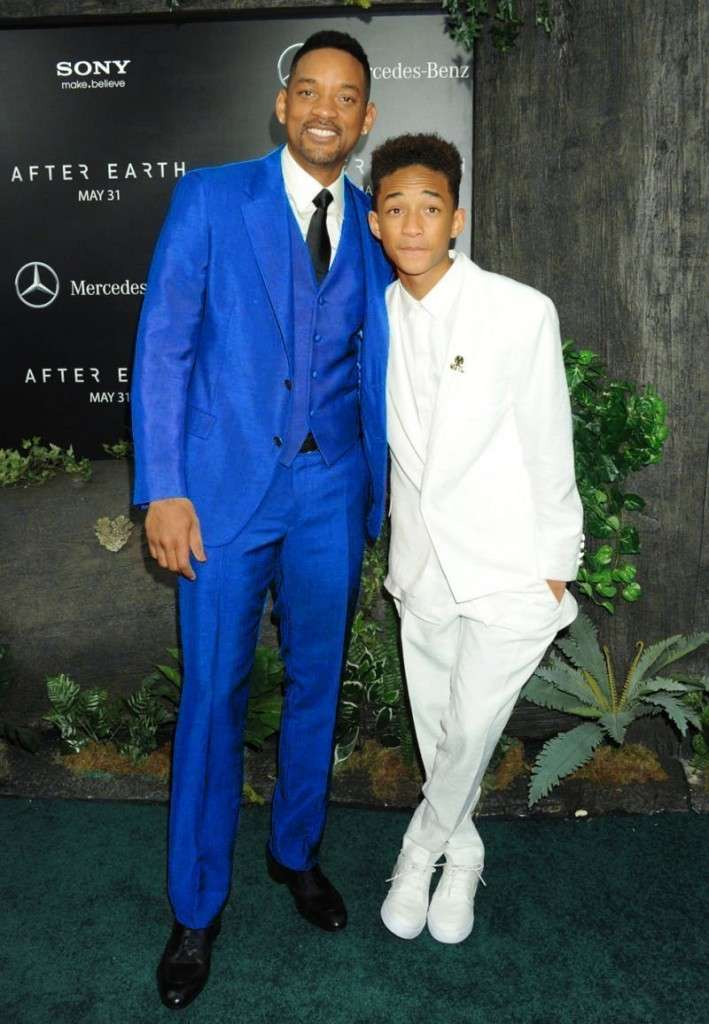 will smith, blue suit, with son, jaden smith ,